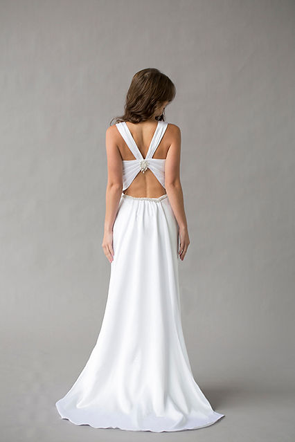 Style Ava wedding gown silk charmuese open back