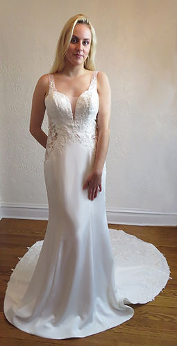 Style Skylar Wedding Gown , mermaid gown with lace details, plunging neckline with mesh inserts