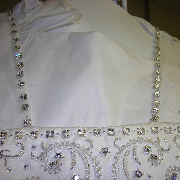 Custom design embroidery and beading