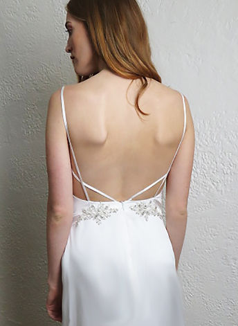 Style Avery wedding gown, silk charmuese backless gown