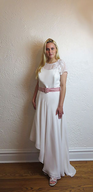 Style Candice, informal wedding gown. Silk Chiffon high low aysymetrical skirt with cap sleeve and lace appliques