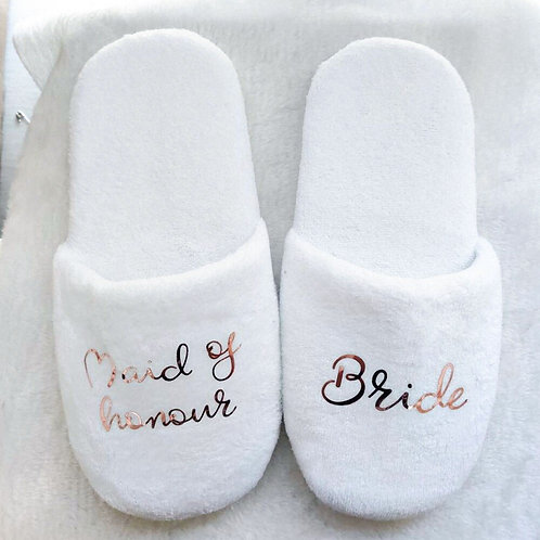 Personalized Wedding Slippers White