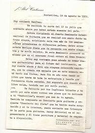 Carta Abel Carlevaro dedicando Tamborile
