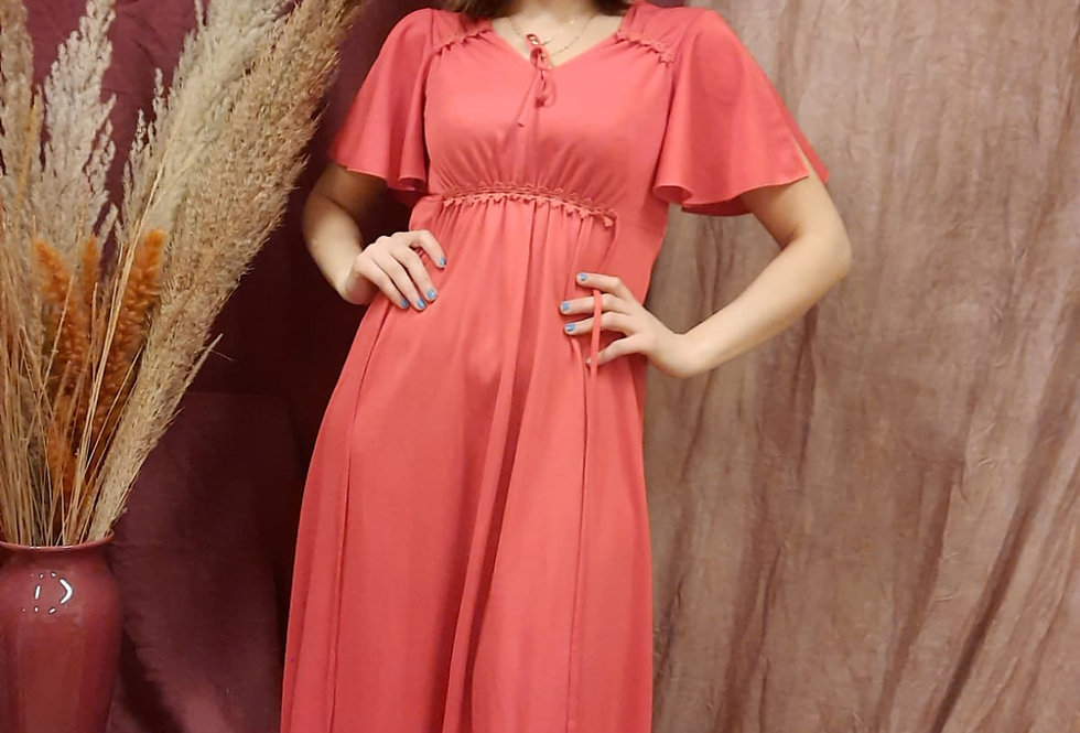 French Night Gown In Red with Flowy Angel Sleeves