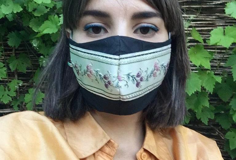 Face Mask Black Floral Wallpaper