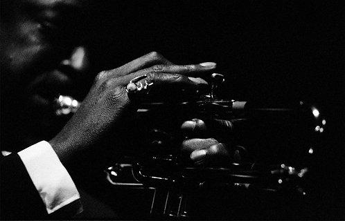 Miles Davis hand on Trumpet
