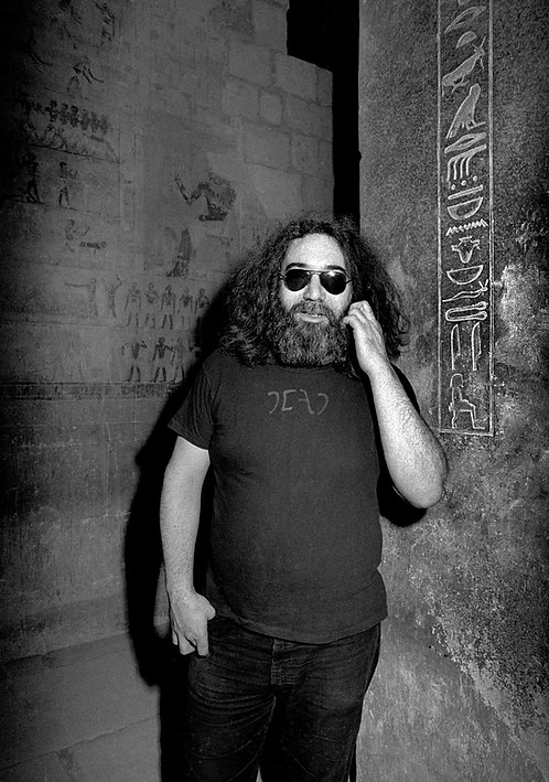 Jerry Garcia standing at pyramid in Egypt