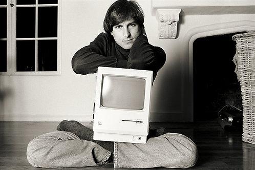 """Steve Jobs, Woodside, CA, 1984, """"Mac on lap Bel Air"""""""