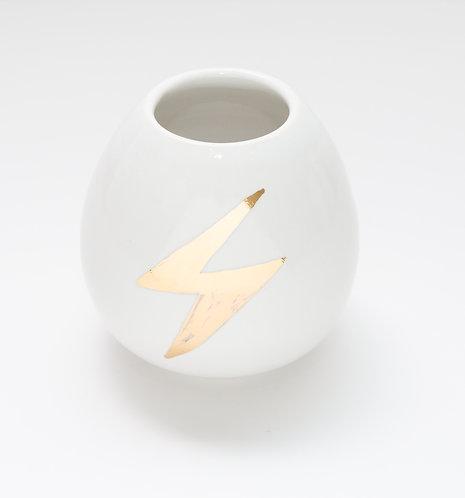 Small vase w/metallic gold lightning bolt