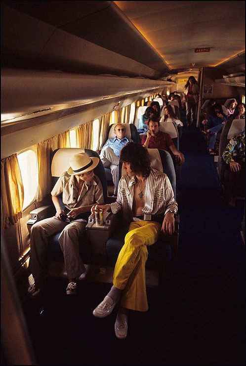 On board The Rolling Stones plane, 1972