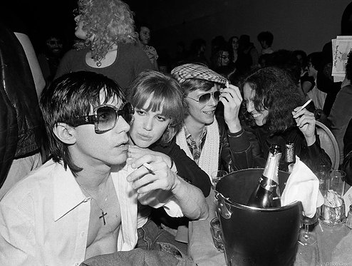 Iggy Pop, Cyrinda Fox, David Bowie& Lisa Robinson