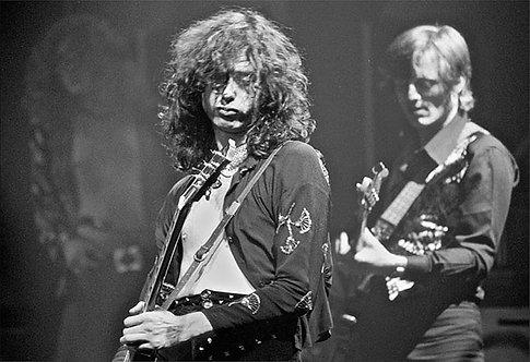 Jimmy Page, John Paul Jones, Led Zeppelin, Detroit, Triple image