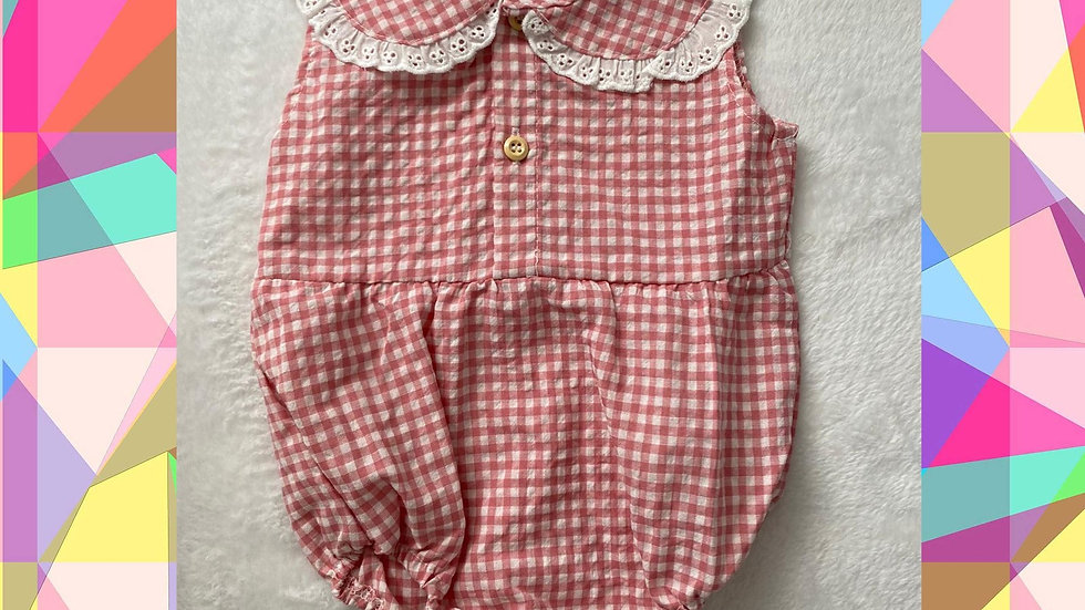Gingham Lacey Romper
