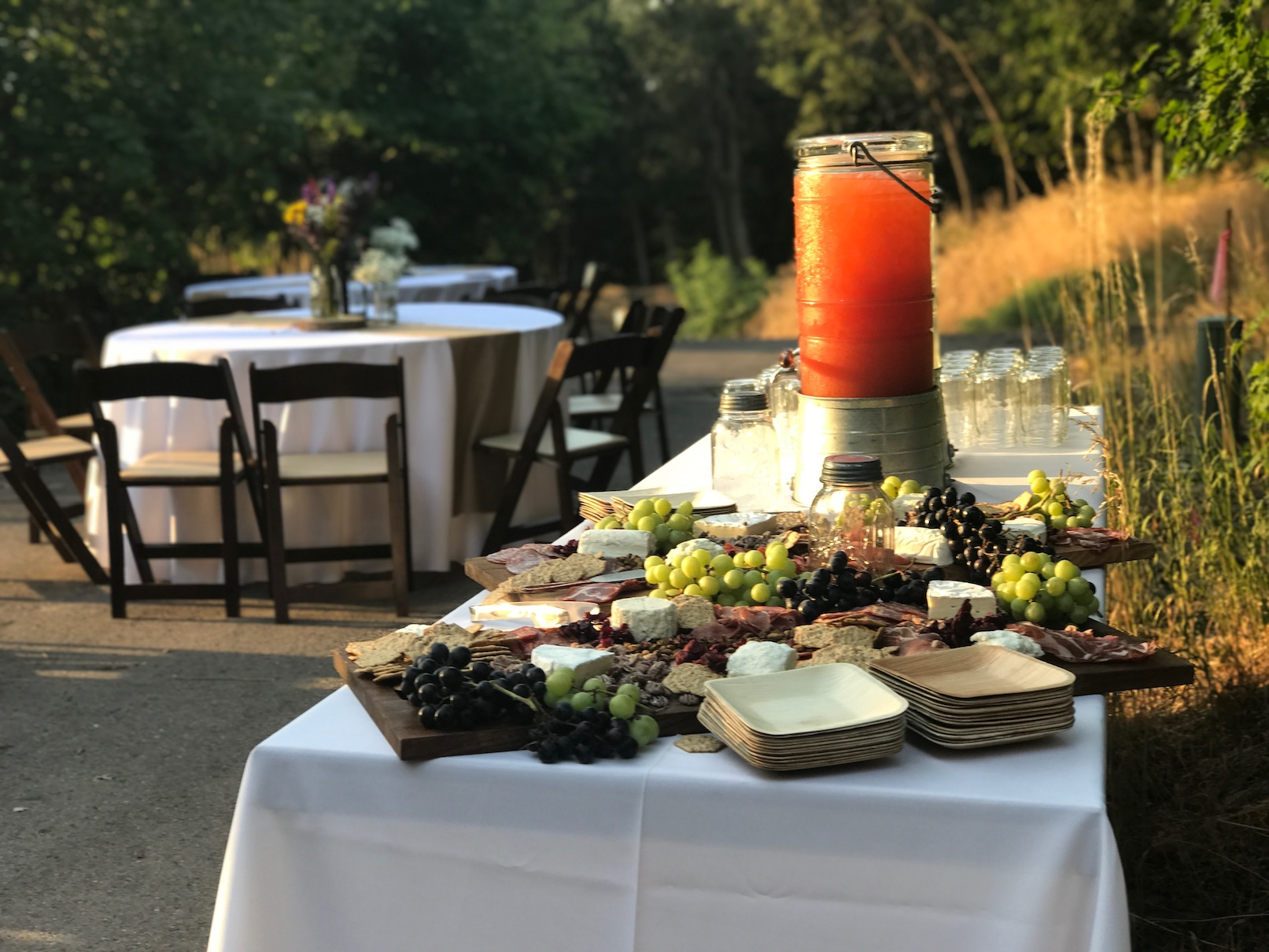 charcuterie table and lemonade