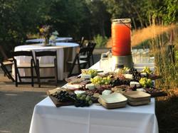 charcuterie table and lemonade