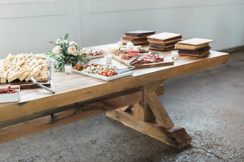 charcuterie table and artisan bread