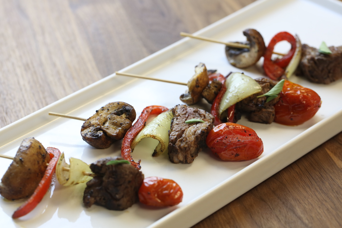 tenderloin and grilled vegetable skewer.
