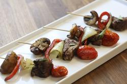 tenderloin and grilled vegetable skewer.