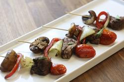 tenderloin and grilled vegetable skewer
