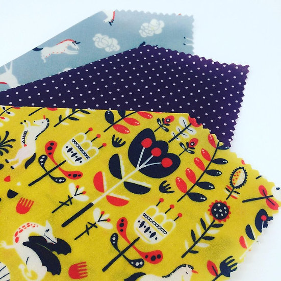 Three Pack Beeswax Wraps- Unicorn Folk
