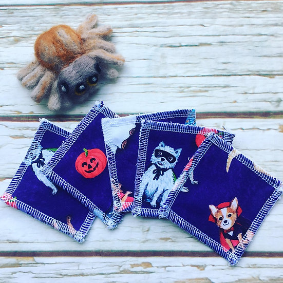 Creepy Canines (purple) Cotton Make Up Wipes