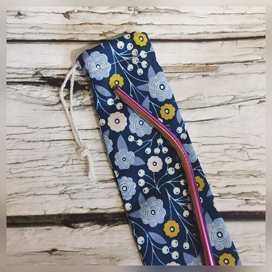 Blue Floral Reusable Straw and Pouch