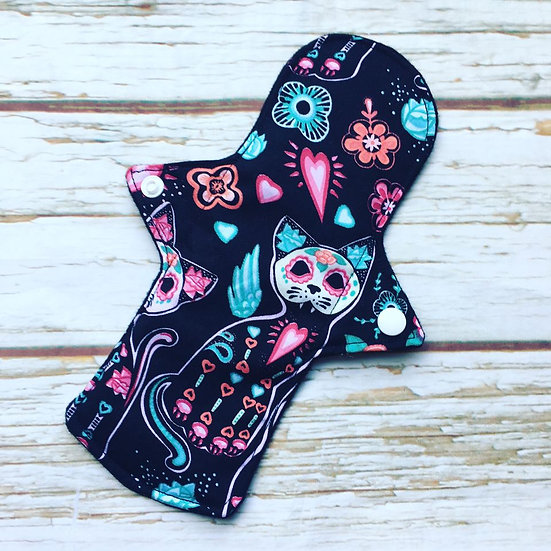 "Day of The Dead Cats Sanitary Pad 9"" Medium Absorbency"