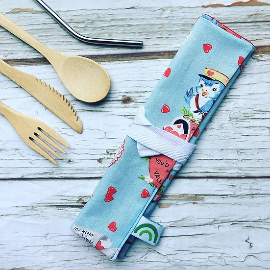 Reusable Bamboo Cutlery Roll and Wrap-Be My Valentine