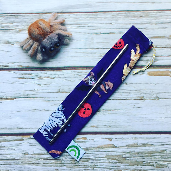 Creepy Canines (purple) Steel Straw With Pouch