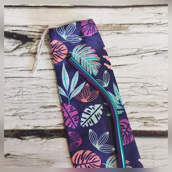 Tropical Leaves Reusable Straw and Pouch
