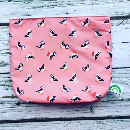 Large Sandwich Bag- Pink Puffins