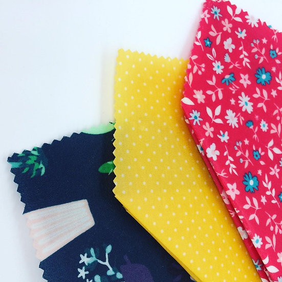 Three Pack Beeswax Wraps-Flowers and Plants