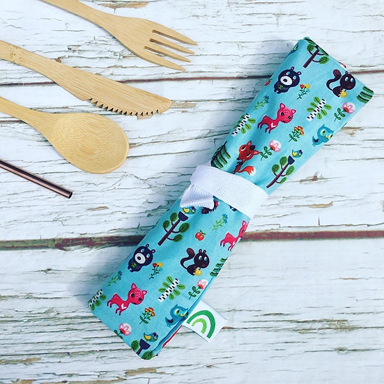Reusable Bamboo Cutlery Roll and Wrap- Forest Scamps