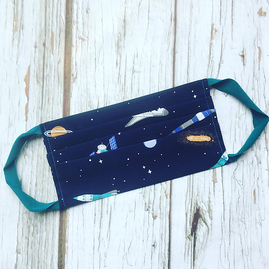 Adult Face Mask with Filter Pocket-Space Rockets