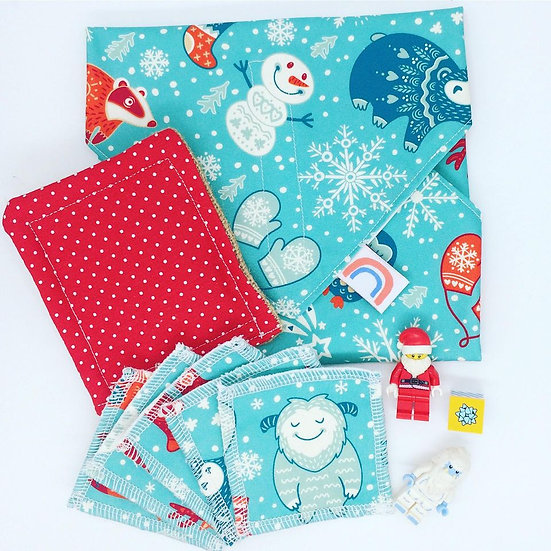 Gift Set- Vegan Food Wrap, Make Up Wipes and Dish Scrubber//Snow Yeti
