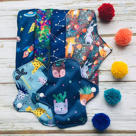 """Cloth Sanitary Pad Starter Pack, Small- Four 9"""" and Two 6"""""""