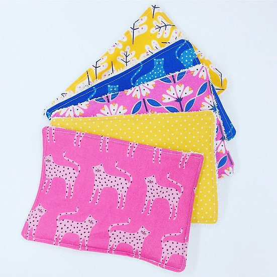 Reusable Large Face Wipes- Leopard Folks and Florals