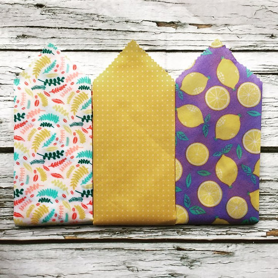 Ferns and Lemons Three Pack Beeswax Wraps