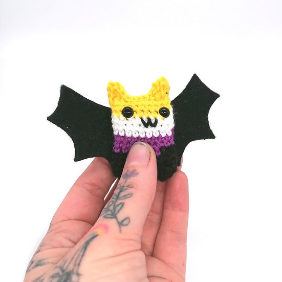 Non Binary Flag Colours Amigurumi BAT With Ears Enby Boop