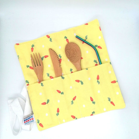 Reusable Bamboo Cutlery Roll and Wrap-Carrots