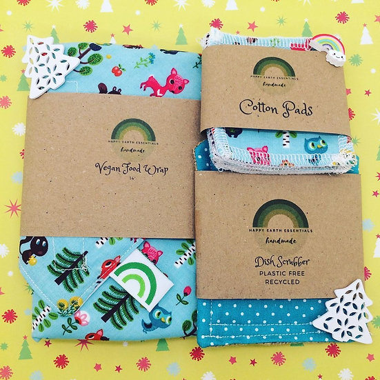 Gift Set- Vegan Food Wrap, Make Up Wipes and Dish Scrubber// Forest Babies