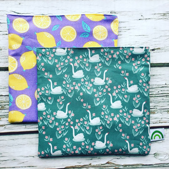 Lemons and Swans Set of Two Reusable Sandwich Bags