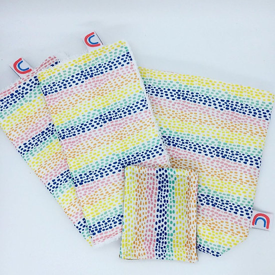 Gift Set-Large Sandwich Bag, Kitchen Roll and Dish Scrubber//Rainbow Drops