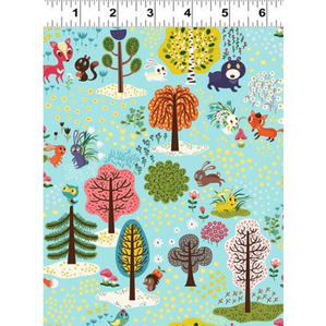 Bluey Green with Forest Animals & Trees