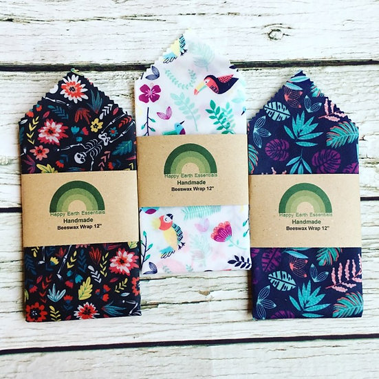 """12"""" Three Pack Beeswax Wraps"""