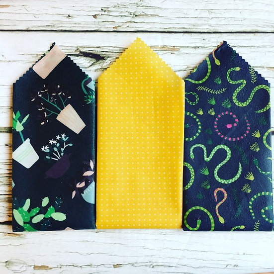 Snakes and Plants Three Pack Beeswax Wraps