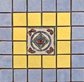MOZ0197 мозаика 15x15 EL LAVANDA-OCRE DECOR 2.5x2.