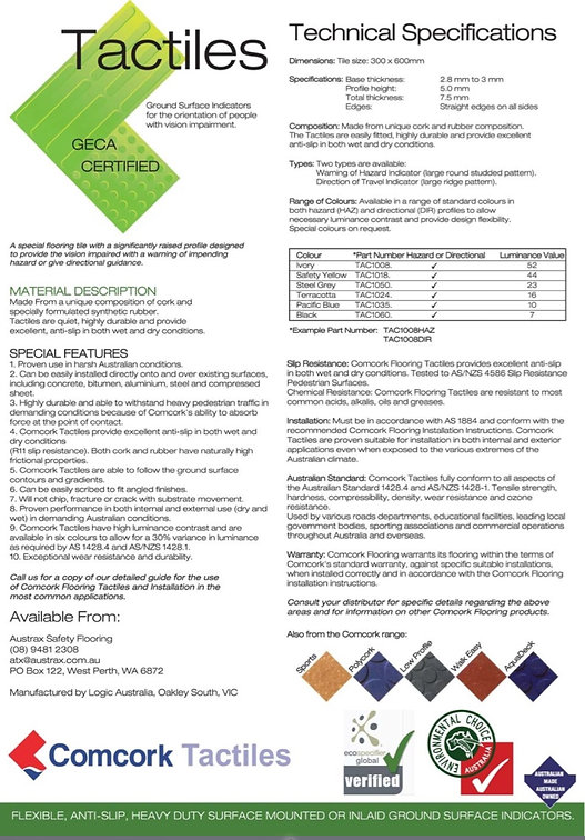 Technical specifications of tactiles