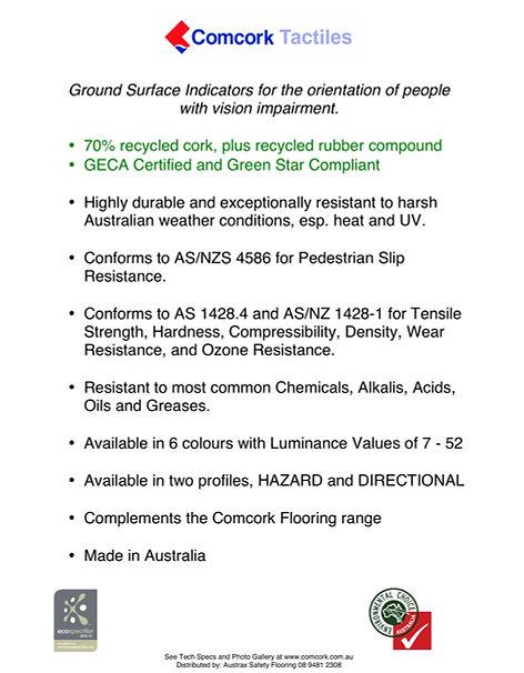 Comcork tactiles ground surface indicators