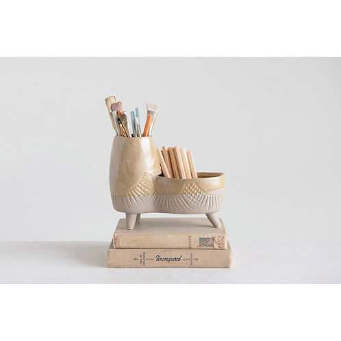Footed Double Planter/Desk Organizer